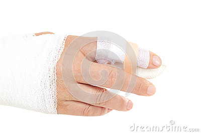 Bandaged hand to prevent infection