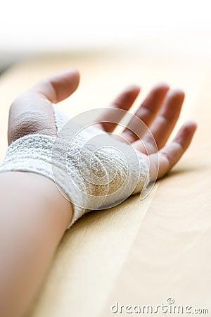 Bandaged wrist close up