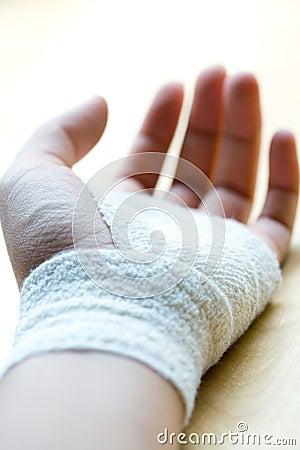 Bandaged wrist resting