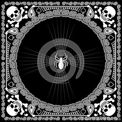 Free Bandana Pattern Skull And Spider Stock Image - 36104601