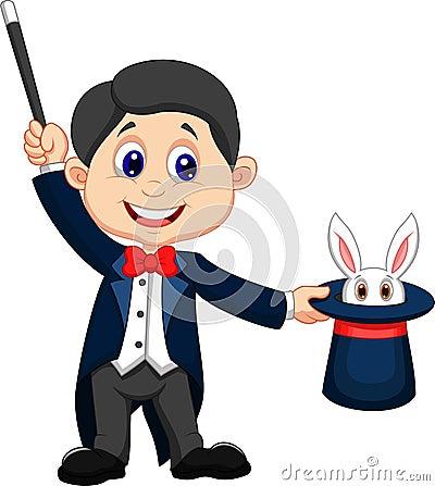 Bande dessin e de magicien retirant un lapin de son chapeau sup rieur - Dessin de chapeau de magicien ...