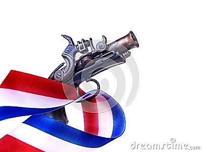 Bande et canon blancs et bleus rouges