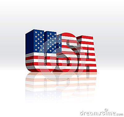 Bandeira (americana) do texto da palavra do vetor de 3D EUA