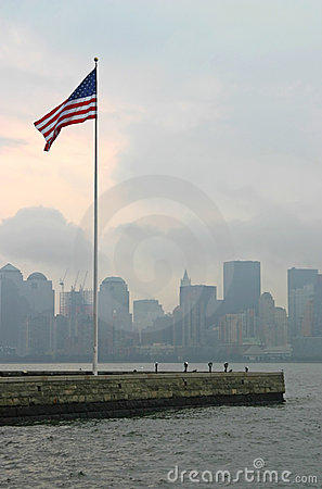 Bandeira americana em New York