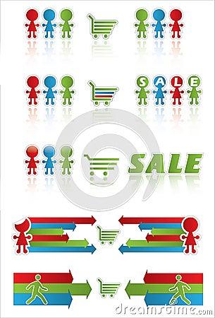 Bandeira da venda com carro de compra e os povos engraçados