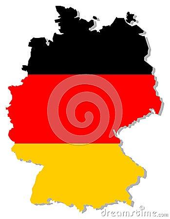 Bandeira de Alemanha dentro da beira do país