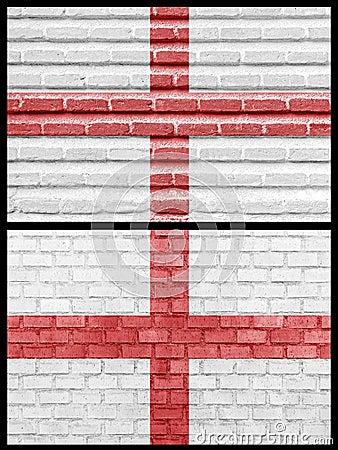 Bandeira de Inglaterra em paredes de tijolo diferentes
