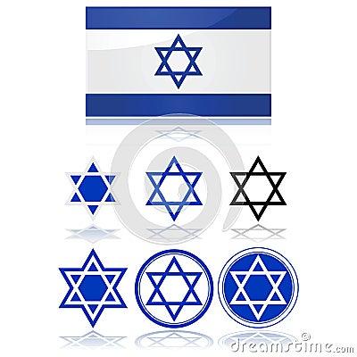 Bandeira de Israel e de estrela de David