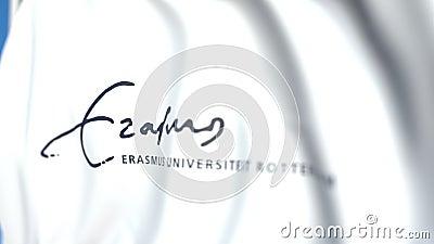 Bandeira de ondulação com emblema de Erasmus University Rotterdam, close-up Animação 3D loopable editorial vídeos de arquivo