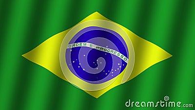 Bandeira de ondula??o de Brasil. animation. footage. Fundo ilustração do vetor