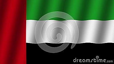 Bandeira de ondula??o de Emiratos ?rabes Unidos. animation. footage. Fundo vídeos de arquivo