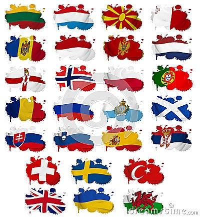 A bandeira de países de Europa borra a parte 2