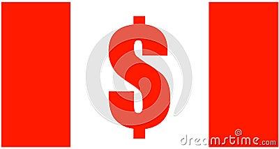 Bandeira do sinal do dólar canadiano
