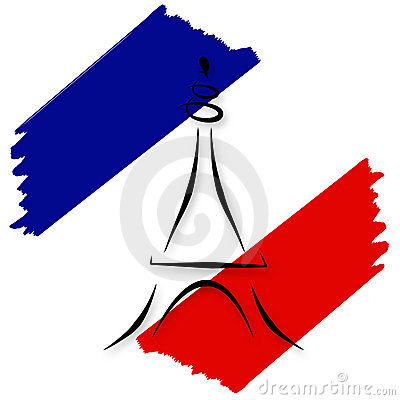 Bandeira francesa estilizado e torre Eiffel