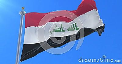 Bandeira iraquiana que acena no vento em lento no céu azul, laço ilustração royalty free
