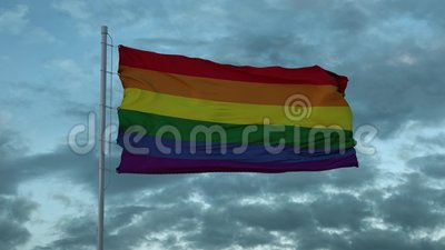 Bandeira LGBT acenando contra fundo dramático ilustração 3D filme