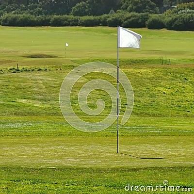 Bandeira no campo do golfe