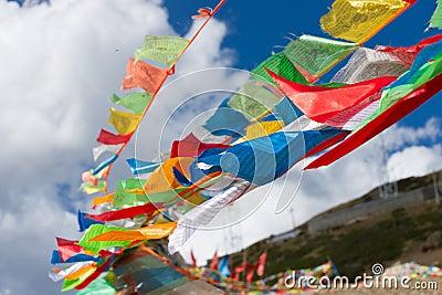 Bandeiras coloridas da oração