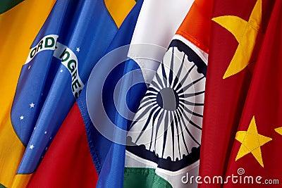 Bandeiras de Brasil. Russo, India e China