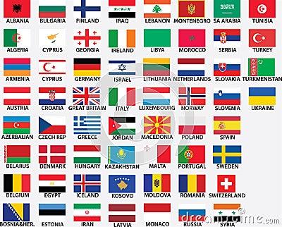 Bandeiras nacionais de todos os países europeus