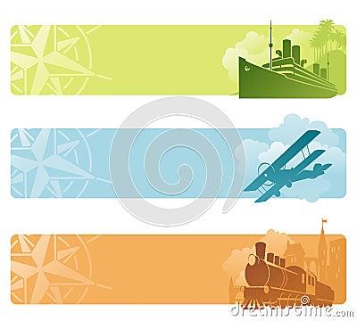 Bandeiras retros do transporte