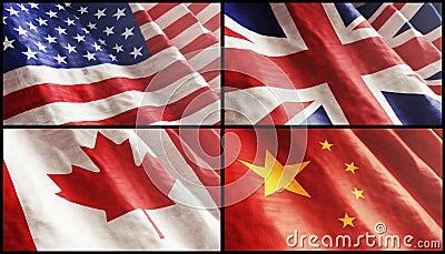 Bandeiras XL. EUA, Inglaterra, Canadá e China