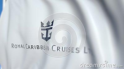 Bandera aérea con el logo de Royal Caribbean Cruises Ltd, cierre. Animación 3D móvil editoriales almacen de video