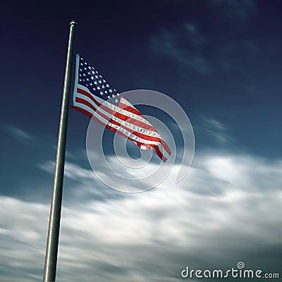 Bandera americana en fotografía larga de la exposición