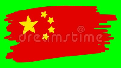 Bandera de dibujo de China sobre fondo verde libre illustration