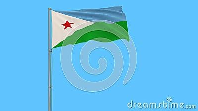 Bandera de Djibouti en la asta de bandera que agita en el viento en un fondo azul puro transparente, 3d representación, formato d almacen de metraje de vídeo