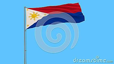 Bandera de Filipinas en tiempo de guerra en la asta de bandera que agita en el viento en un fondo azul puro, representación 3d almacen de metraje de vídeo