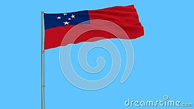 Bandera de Samoa en la asta de bandera que agita en el viento en un fondo azul puro, representación 3d almacen de metraje de vídeo