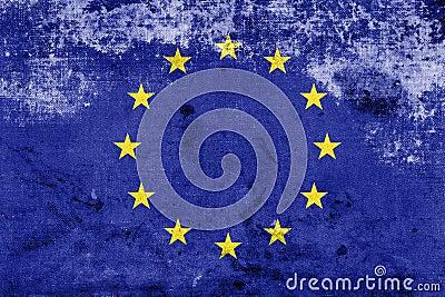 Bandera de unión europea del Grunge