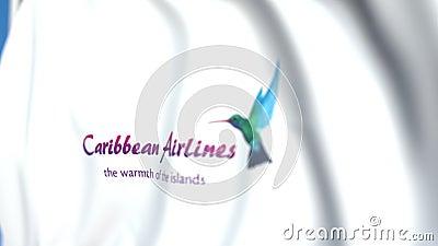 Bandera ondeando con el logo de Caribbean Airlines, cierre. Animación 3D móvil editoriales libre illustration