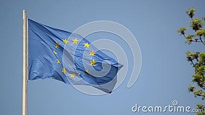 Bandera ondeando la Unión Europea en el asta azul del cielo Bandera de la UE ondeando en el viento Símbolo de las ondas de la UE  almacen de metraje de vídeo