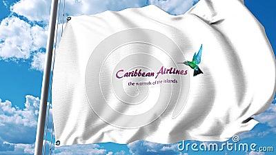 Bandera que agita con el logotipo de Caribbean Airlines clip del editorial 4K stock de ilustración