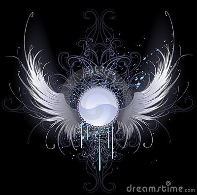 Bandera redonda con las alas del ángel