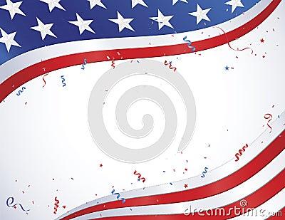 Bandiera americana con i coriandoli
