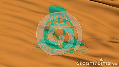 Bandiera della città di Ramat HaSharon del primo piano, Israele stock footage