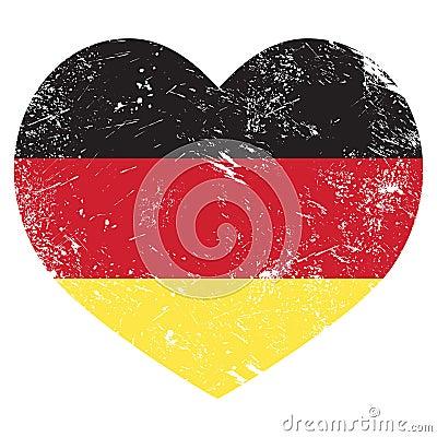 Bandiera a forma di del cuore della germania retro - Bandiera della pagina di colorazione della germania ...