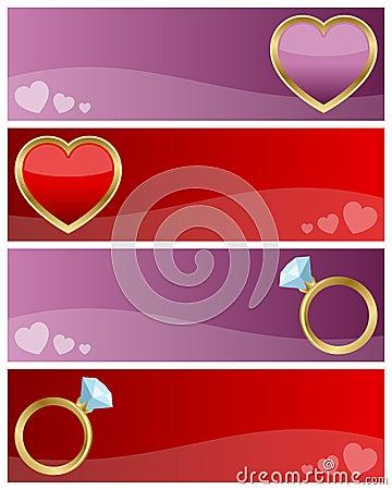 Bandiere di giorno dei biglietti di S. Valentino impostate