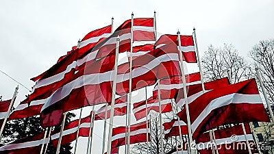 Bandiere lettoni attaccate a un palo che saluta al vento, la skyline di Riga, Lettonia video d archivio