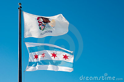 Bandierina della condizione dell Illinois e bandierina della città del Chicago