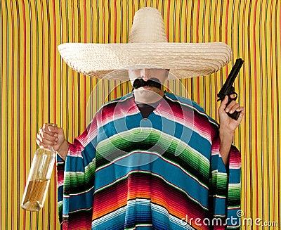 Bandit Mexican revolver mustache drunk tequila