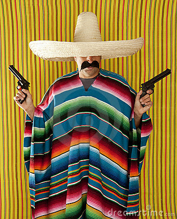 Free Bandit Mexican Revolver Mustache Gunman Sombrero Royalty Free Stock Photos - 19570498
