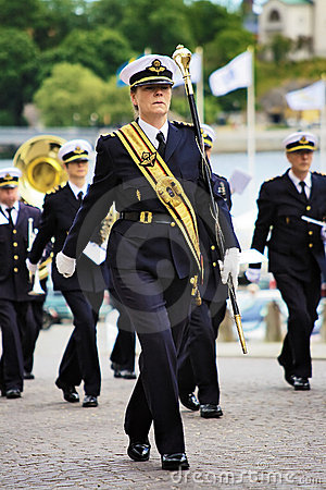 Bandmaster of military band in Stockholm Editorial Photography