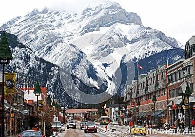 Banff Avenue shopping town under Cascade Mountain Editorial Stock Photo