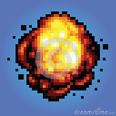 Bang explosion pixel art game style illustration