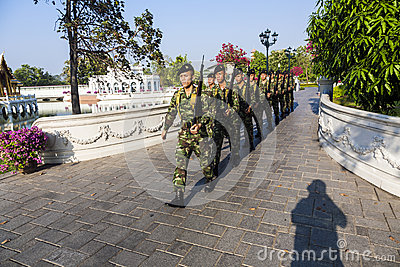 Soldiers in Bang Pa-In Royal Palace, Ayutthaya Province, Thailand Editorial Stock Photo