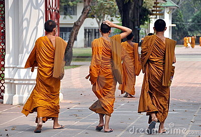 Bang Pa-In, Thailand: Novice Monks Editorial Stock Photo